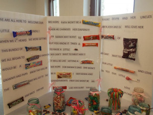 Cute baby shower candy card using names of candy bars.....everyone ...