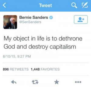 "Viral Bernie Sanders tweet about ""dethroning God"" is fake"