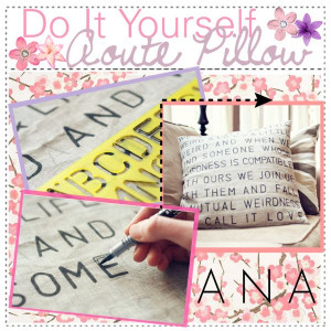 Do It Yourself Quote/Lyric Pillow♥