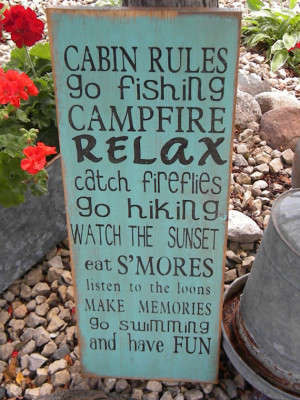 Cabin or Lake Rules Sign Typography subway sign