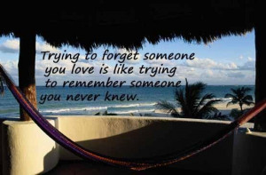 ... love is like trying to remember someone you never knew break up quote