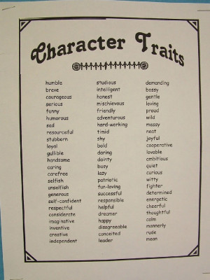 Character Traits In Simple White Paper Just For You