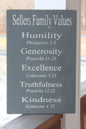 Wood Sign, Bible Verses Sign, Christian Values sign, Family Values ...