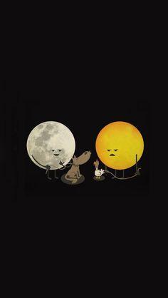 Moon & Sun - iPhone wallpapers @mobile9 | #cute #cartoon #funny