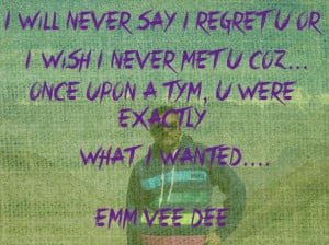 will never regret you or say i wish i never met you