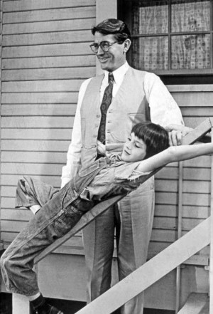 Gregory Peck and Mary Badham as Atticus and Scout Finch (To Kill a ...