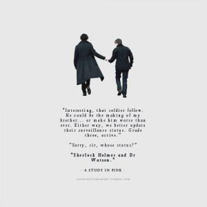 Sherlock Quotes Tumblr Tags: sherlock watson mycroft