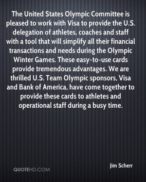 The United States Olympic Committee is pleased to work with Visa to ...