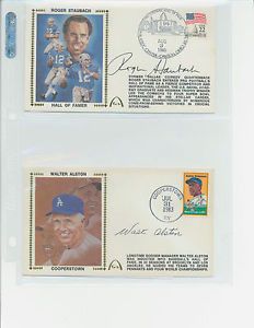 WALTER ALSTON L A DODGERS AUTOGRAPHED FIRST DAY COVER COOPERSTOWN W