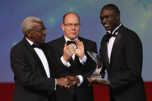 David Rudisha David Rudisha r of Kenya receives the male athlete of