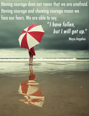 Having Courage Does Not Mean that We are Unafraid ~ Fear Quote