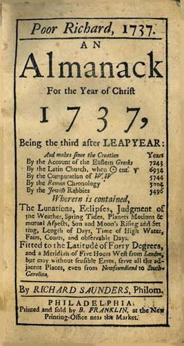 Ben Franklin publishes first Poor Richard's Almanack