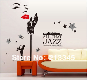Saturday-Mall-Jazz-singer-130x160cm-new-big-wall-decals-music-room ...