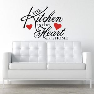 Details about WALL STICKER QUOTE ART MURAL KITCHEN HEART HOME ROOM ...