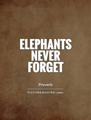 Elephants Never Forget Quote
