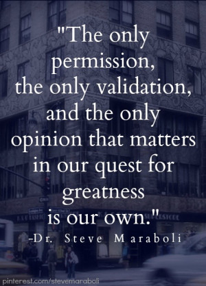 ... , the only validation, and the only opinion that matters in our quest