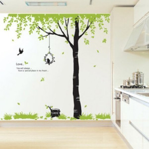 Flying Bird and Big Tree Wall Sticker Decal for Baby Nursery Kids Room ...
