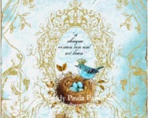 Blue bird in nest with eggs, greeting card, birds nest, crowned bird ...
