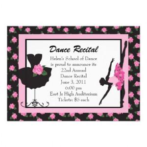 KRW Elegant Roses Custom Dance Recital Invitations