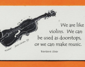 Magnet: Fiddle, block print by Jess e Larsen with Barbara Sher quote ...
