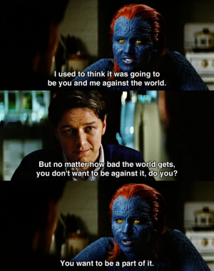 confrontration between Raven and Charles in X-Men: First Class