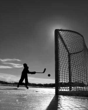 Outdoor hockey on thin ice