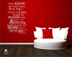 Bible Verse Wall Decals Jeremiah 29:11 - Vinyl Wall Stickers Art ...