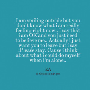 thumbnail of quotes I am smiling outside but you don\'t know what i am ...