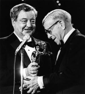Jackie Gleason (L) and George Burns in 1974.