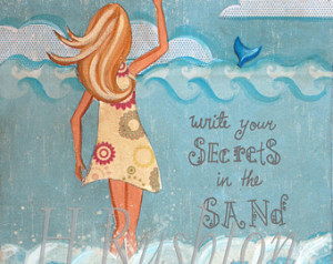Beach Art, Mermaid Art,Mermaid Quot e,Beach Cottage Decor,Art for ...