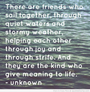... , Helping Each Other Through Joy And Through Strife - Water Quote