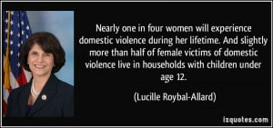 Nearly one in four women will experience domestic violence during her ...