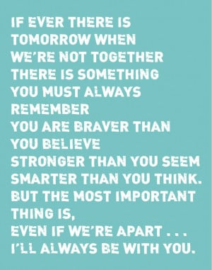 ... You Believe - Stronger Than You Seem Print - Winnie the Pooh Quote