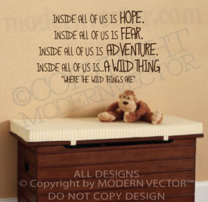 WHERE THE WILD THINGS ARE Quote Vinyl Wall Decal A WILD