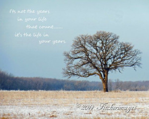 Bare Lone Tree with Inspirational Quote Color by Fischerimages, $13.95