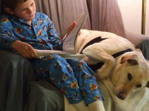 William reading to Daledog
