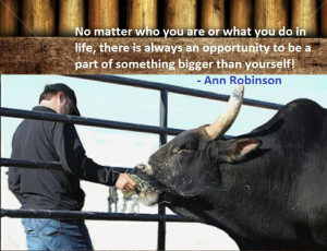Quote from Ann Robinson, wife of Jeff Robinson of Robinson Bucking ...