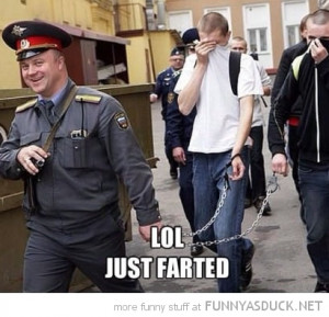 man prison guard cop laughing chains lol just farted funny pics ...