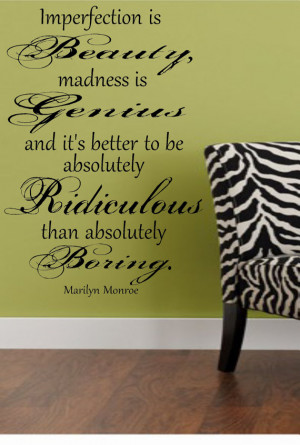 Marilyn Monroe Imperfection Wall Decal Quote Lettering FREE SHIPPING