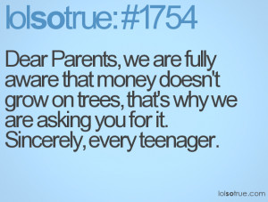 Dear Parents, we are fully aware that money doesn't grow on trees ...