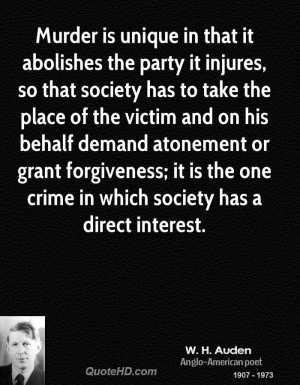 Murder is unique in that it abolishes the party it injures, so that ...