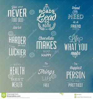 ... Images: Set Of Vintage Typographic Backgrounds / Motivational Quotes