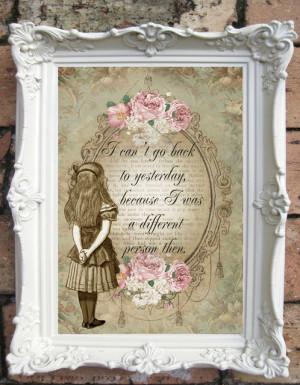... Art Print. Shabby Chic Decor. Vintage Style Alice Wall rustic