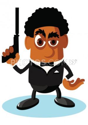 Stock Illustrations: Cartoon Secret Agent Guy With Gun.