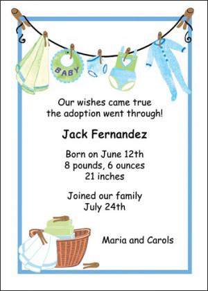Blue Clothesline Adoption Announcements