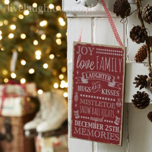 Christmas Phrases Hanging Plaque - Joy, Love, Laughter