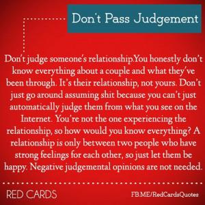Don't Pass Judgement