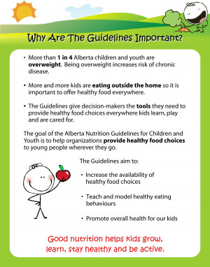 Alberta Nutrition Guidelines for Children and Youth Display s