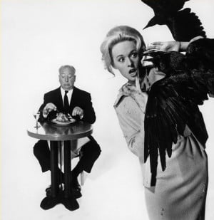 ... Hitchcock with Tippi Hedren for The birds by Philippe Halsman, 1962