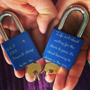 love lasting forever. I gave Greg a set of locks with our fav quote ...